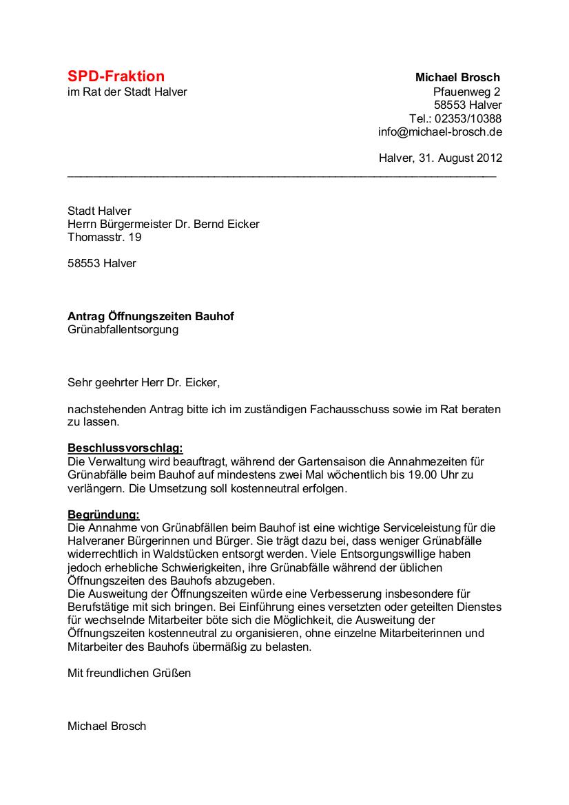 Antrag Öffnungszeiten Bauhof – Grünabfallentsorgung