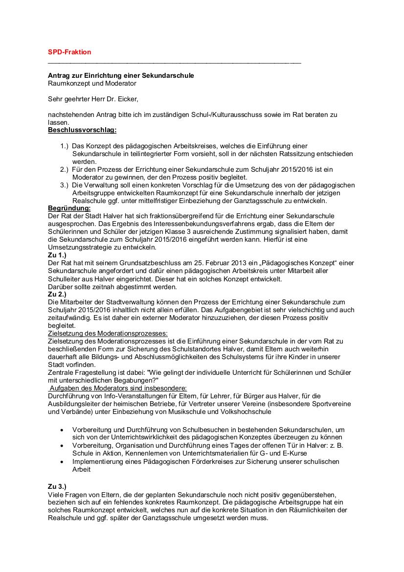 Antrag zur Einrichtung einer Sekundarschule