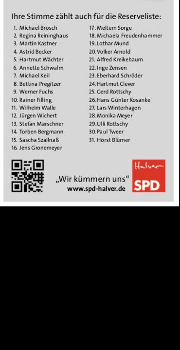 Reserveliste der SPD für Halver