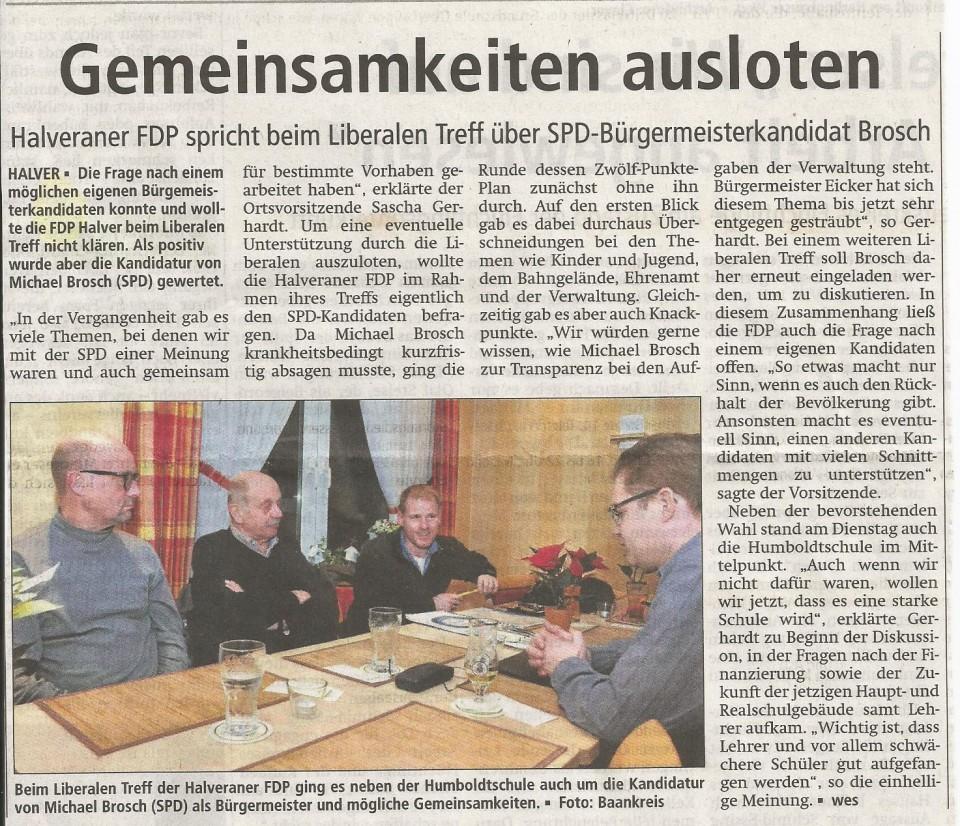Bericht im AA vom 12.2 über unseren Bürgermeisterkandidaten Michael Brosch beim Stammtisch der FDP