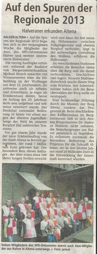 """Bericht im AA vom 9.6 zur Fahrt mit """"Reiseführer"""" Michael zur Burg Altena"""
