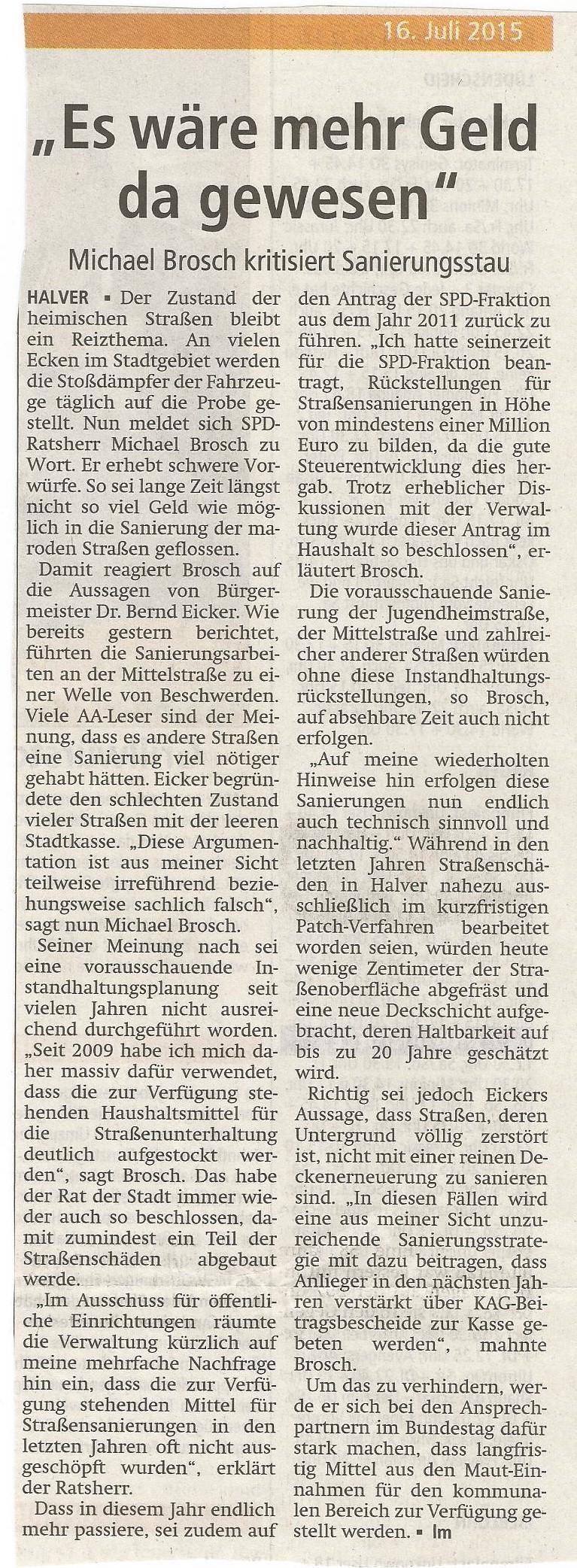 """Pressebericht im AA Stellungnahme """"Straßenerhalt in Halver"""""""