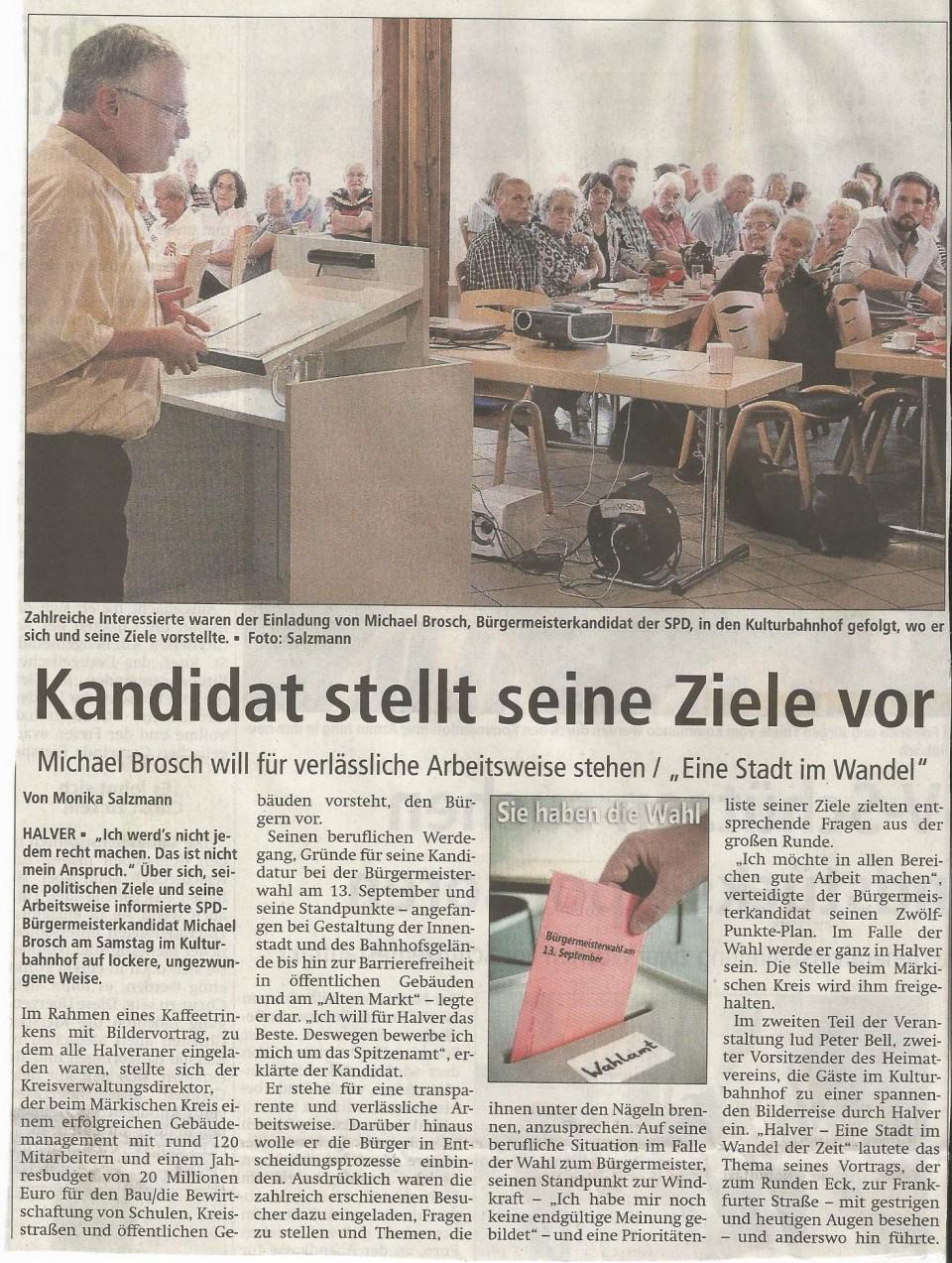 Bericht im AA vom 10.August zum Wahlkampfauftakt im Kulturbahnhof