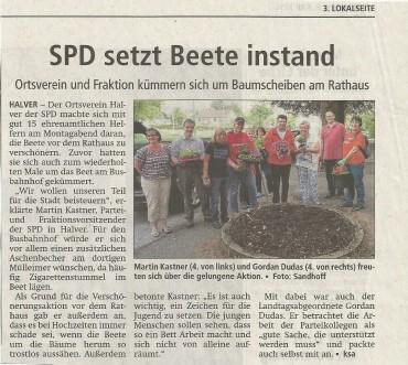 Pressebericht zum Beetepflegen am Rathaus und am ZOB