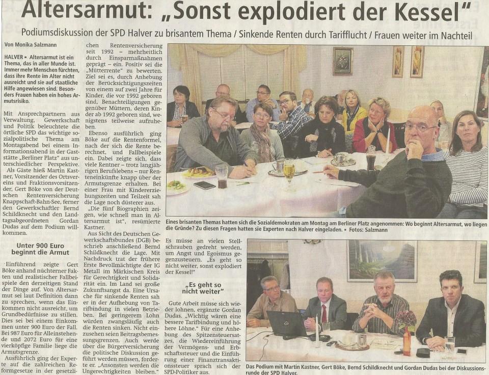 """Presseschau zur SPD Veranstaltung """"Altersarmut"""" in Halver"""