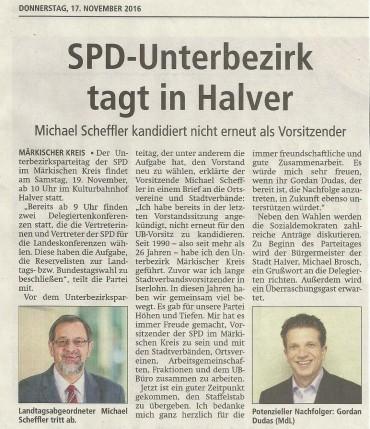 SPD-Parteitag zu Gast in Halver- Unterbezirk wählt neuen Vorstand