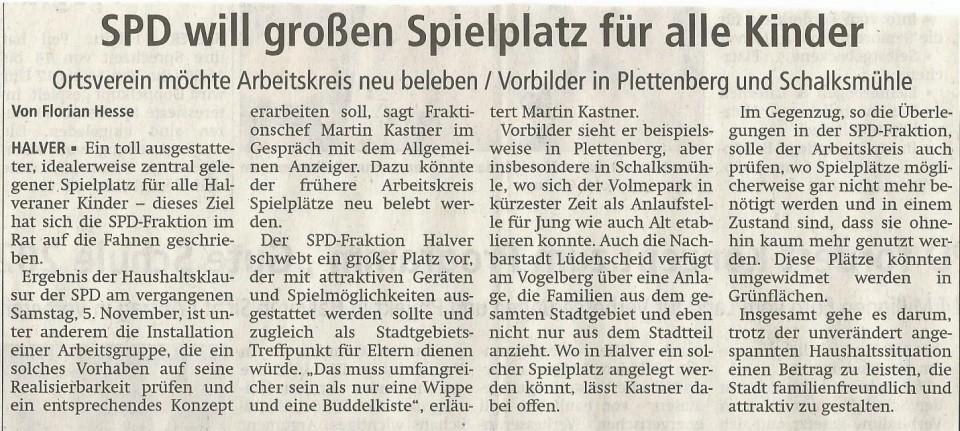 """Pressebericht zum SPD Antrag zur """"Bildung eines Arbeitskreises Spielplätze"""""""