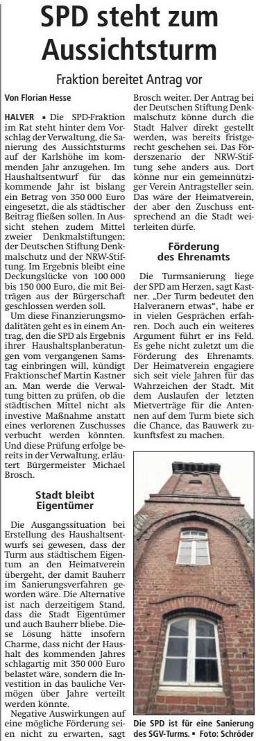 """Pressebericht zum SPD-Antrag """"Sanierung Aussichtsturm als investive Maßnahme"""""""