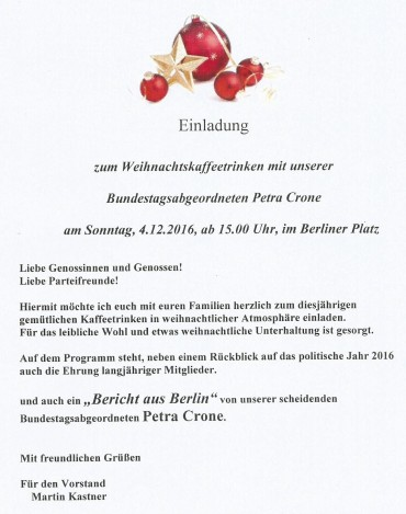 SPD Adventskaffee mit Petra Crone