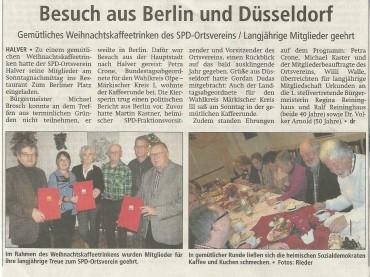 Pressebericht zur Veranstaltung SPD-Weihnachtskaffeetrinken
