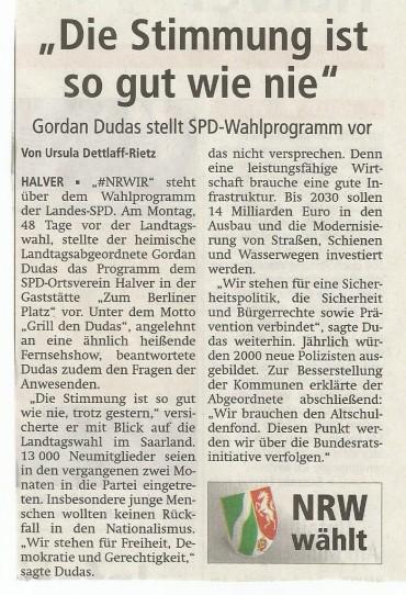 Pressebericht zu SPD Stammtisch mit Gordan Dudas