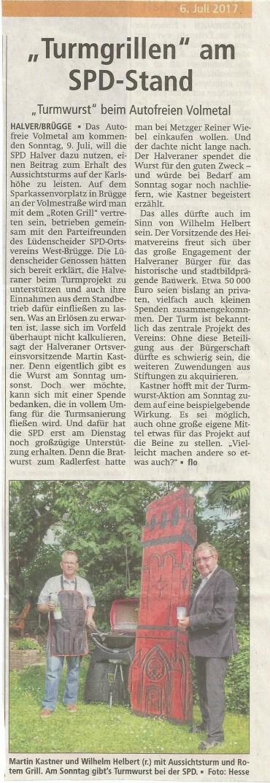 """Presseankündigung zur SPD Spendenaktion """"Turmwurst"""""""