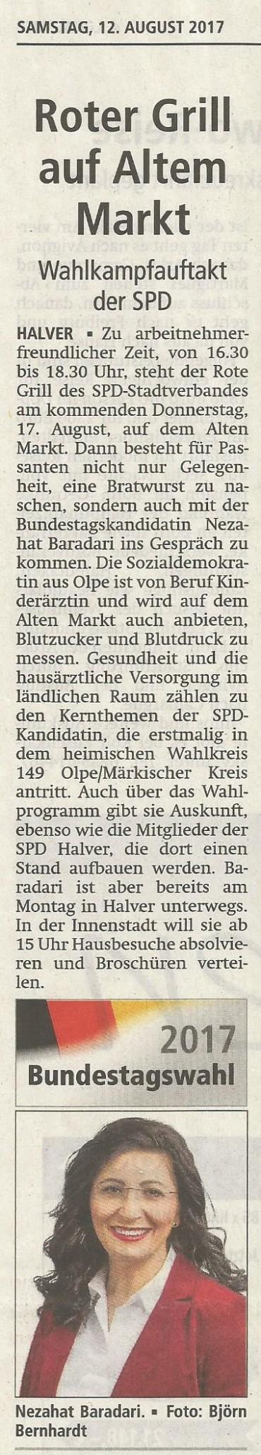 """Gesprächszeit mit Nezahat Baradari am """"alten Markt"""" – SPD Halver startet in den Bundestagswahlkampf"""