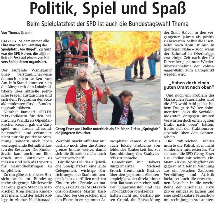 Pressebericht zum SPD-Spielplatzfest