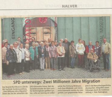 SPD-Tagesfahrt in das Neanderthalmuseum –  Pressebericht des AA vom 22.9