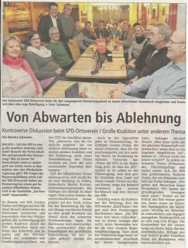 """SPD Stammtisch zur """"Regierungsbildung im Bund"""" Bericht des AA vom 6.1"""