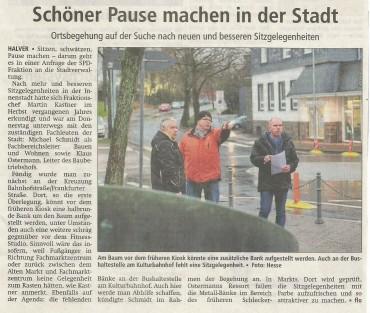 Antrag der SPD-Fraktion auf Prüfung und Erweiterung des Sitzmöglichkeiten in der Innenstadt
